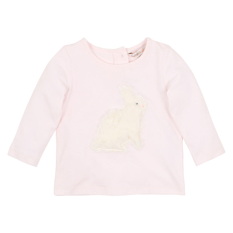 Fox & Finch Baby Hop Applique Bunny Tee - Blush