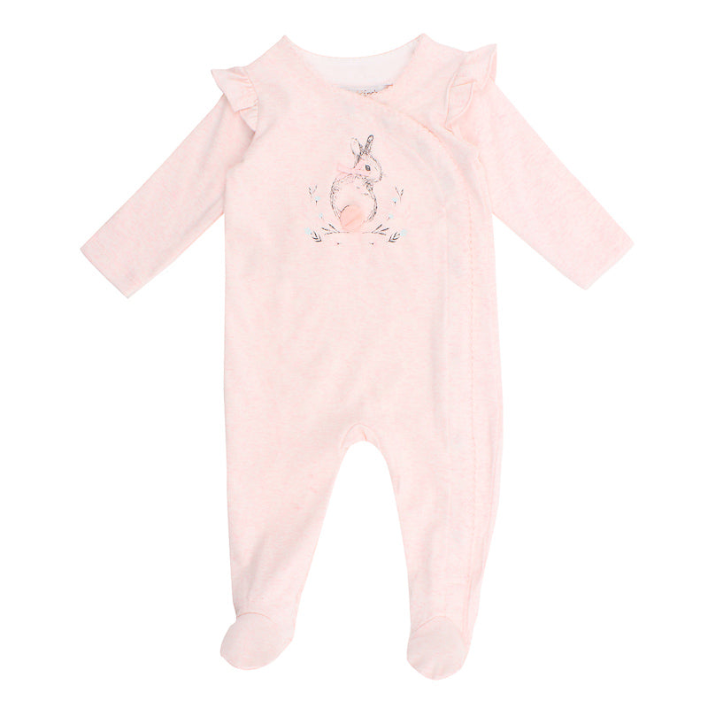 Fox & Finch Baby Hop Bunny Print Romper - Pink Marle
