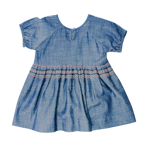 Fox & Finch Baby Kindred Chambray Dress with Embroidery
