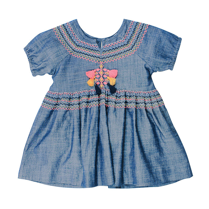 Fox & Finch Baby Kindred Chambray Dress with Embroidery Dresses Fox & Finch Baby - Little Styles