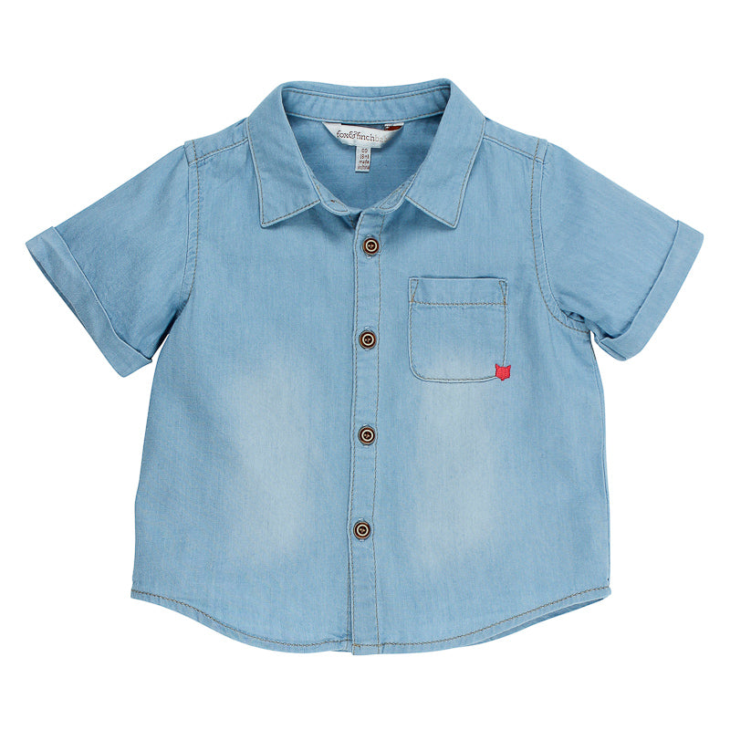 Fox & Finch Baby Little Mr Denim Shirt - Ice Denim Tops Fox & Finch Baby - Little Styles