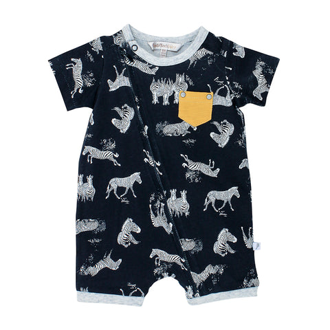 Fox & Finch Baby Safari Print Zip Short Sleeve Romper
