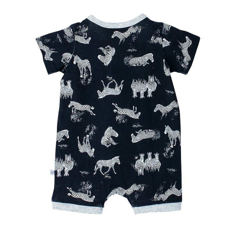 Fox & Finch Baby Safari Print Zip Short Sleeve Romper Onesies Fox & Finch Baby - Little Styles