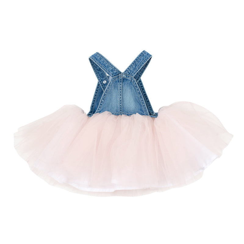 Fox & Finch Baby Tweet Denim Overall Dress with Tulle - Denim/Pink Dresses Fox & Finch Baby - Little Styles