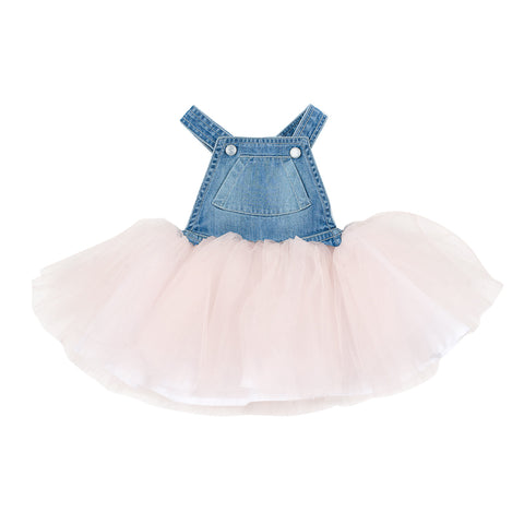 Fox & Finch Baby Tweet Denim Overall Dress with Tulle - Denim/Pink