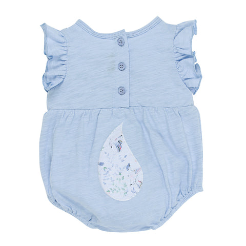 "Fox & Finch Baby Tweet ""Fox Face"" Romper - Sky/White"
