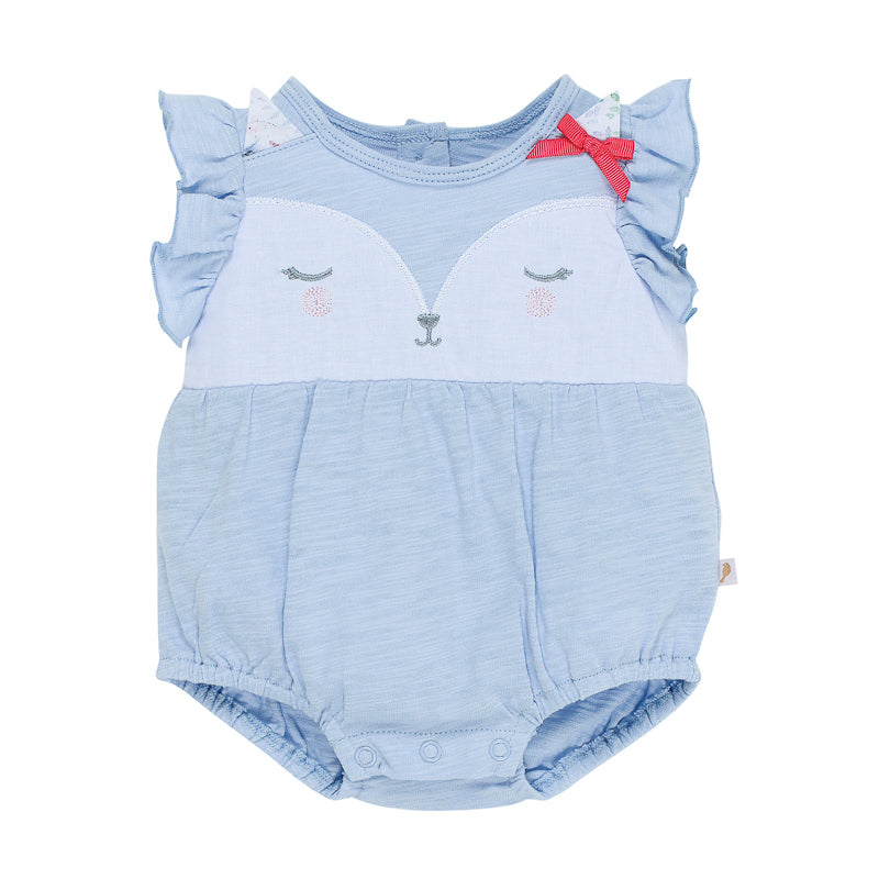 "Fox & Finch Baby Tweet ""Fox Face"" Romper - Sky/White Onesies Fox & Finch Baby - Little Styles"