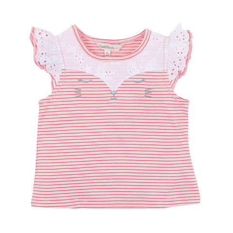 "Fox & Finch Baby Tweet Stripe ""Cat Face"" Top"