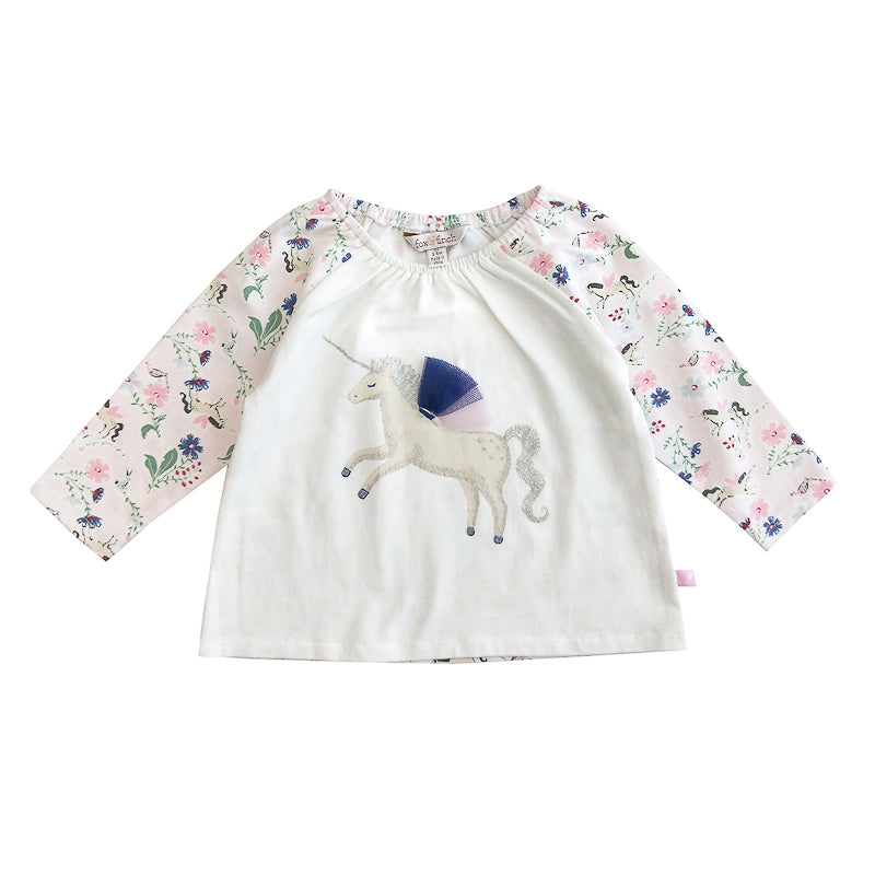 Fox & Finch Baby Whimsical Unicorn Top - Multi