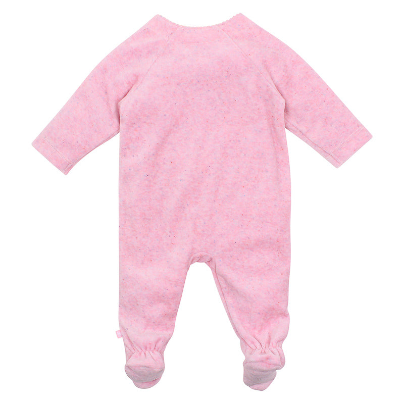 Fox & Finch Baby Whimsical Velour Romper - Pink Marle