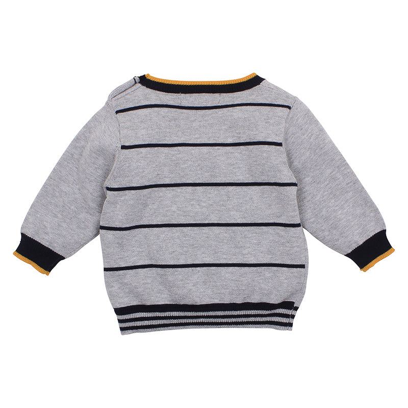 Fox & Finch Baby Woof Dog Sweater - Grey Marle
