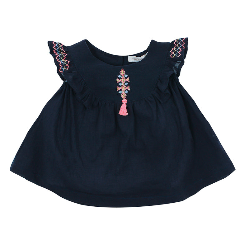 Fox & Finch Baby Kindred Blouse with Embroidery - Navy Dresses Fox & Finch Baby - Little Styles