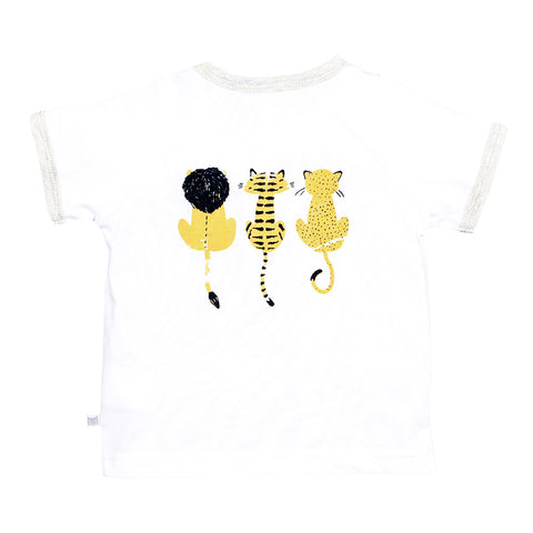 Fox & Finch Baby Safari Lions and Tigers Tee - White