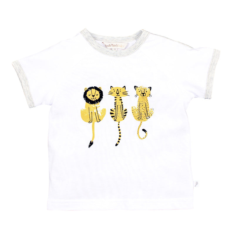 Fox & Finch Baby Safari Lions and Tigers Tee - White Tops Fox & Finch Baby - Little Styles