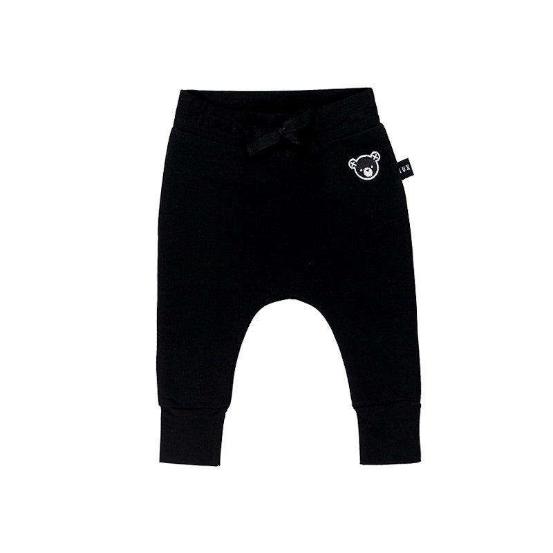 Huxbaby Black Fleece Drop Crotch Pant - Black Pants Huxbaby - Little Styles