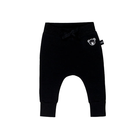 Huxbaby Black Fleece Drop Crotch Pant - Black