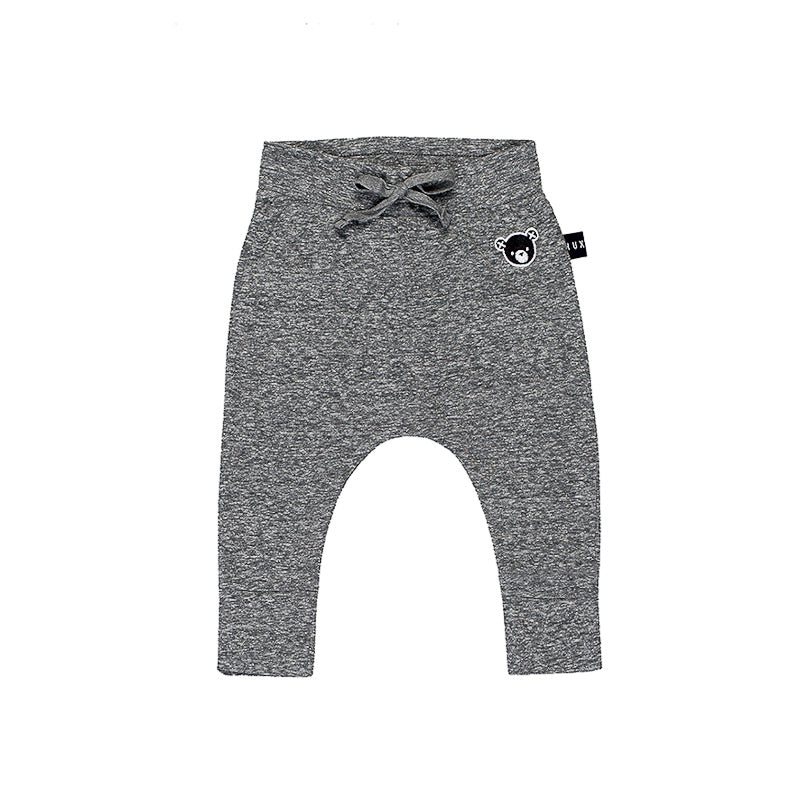 Huxbaby Drop Crotch Pant - Charcoal Slub Pants Huxbaby - Little Styles