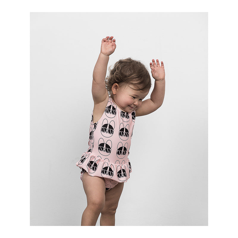Huxbaby French Shades Swimsuit in Coral Swimwear Huxbaby - Little Styles