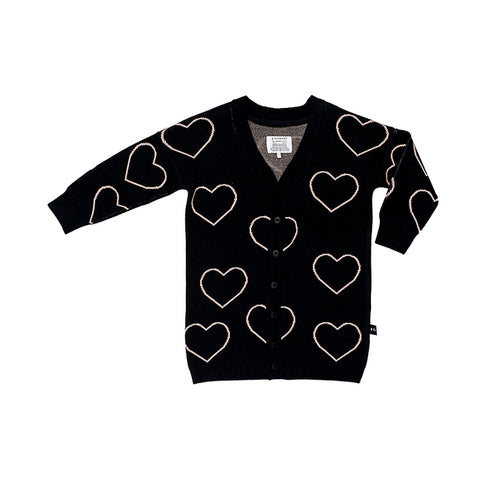 Huxbaby Heart Knit Cardi - Black