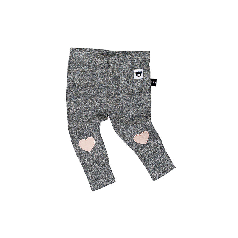 Huxbaby Heart Patch Skinny Legging - Charcoal Slub Pants Huxbaby - Little Styles