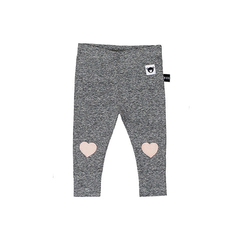 Huxbaby Heart Patch Skinny Legging - Charcoal Slub