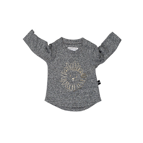Huxbaby Lion Long Sleeve Top - Charcoal Slub