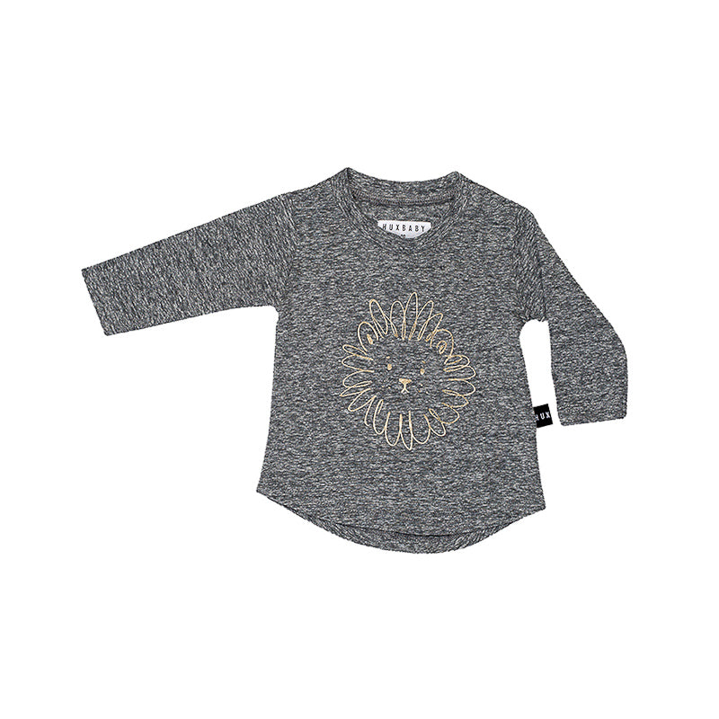 Huxbaby Lion Long Sleeve Top - Charcoal Slub Tops Huxbaby - Little Styles
