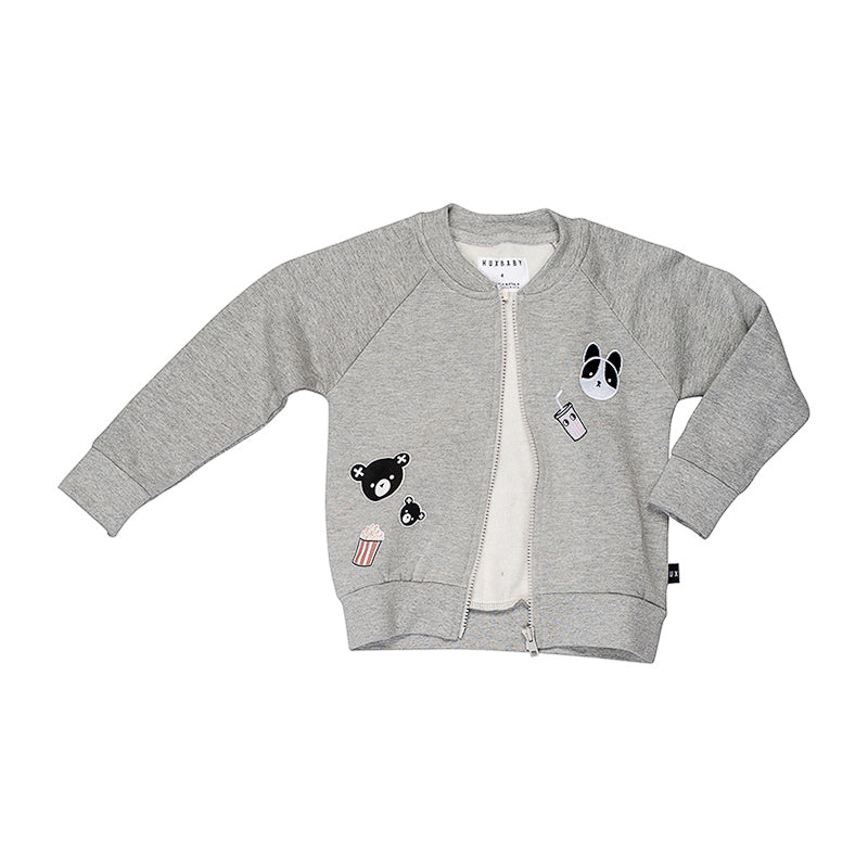 Huxbaby Movie Patch Sweat Jacket - Grey Marle Jackets Huxbaby - Little Styles