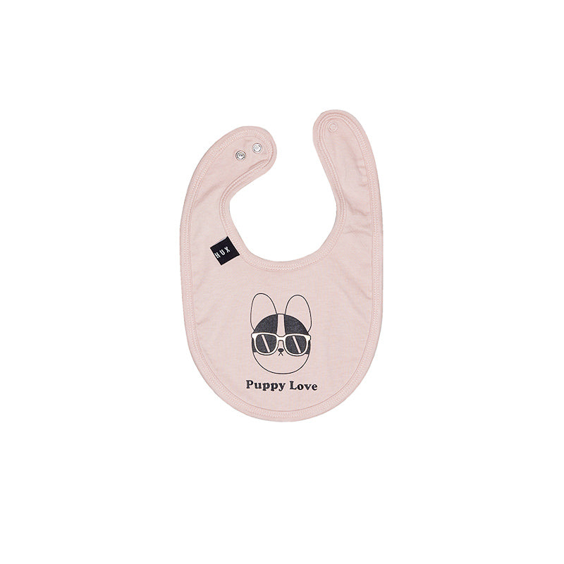 Huxbaby Puppy Love Bib - Rose Dust Accessories Huxbaby - Little Styles