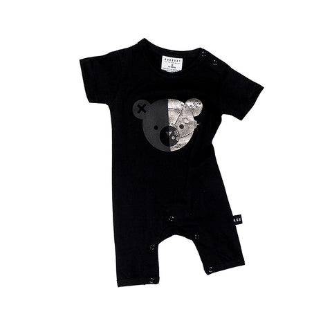 Huxbaby Robo Bear Short Romper - Black