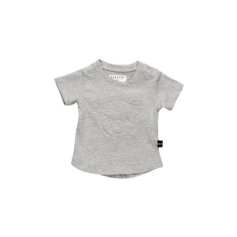 Huxbaby Stitch Bear T- Shirt - Grey Marle Tops Huxbaby - Little Styles