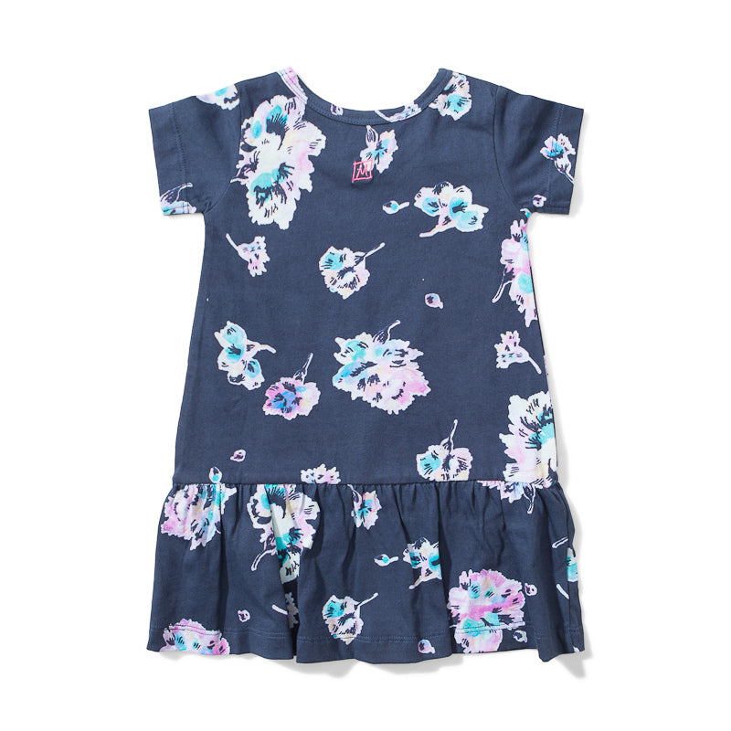 Lil Missie Nest Jersey Dress - Water Floral Dresses Munster - Little Styles