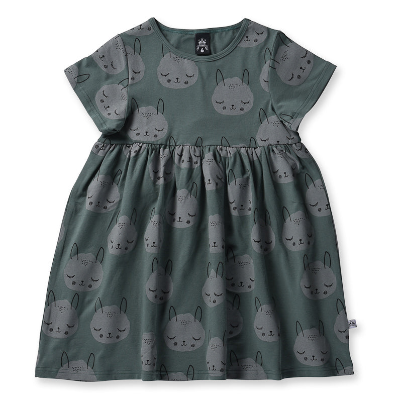 Littlehorn Snoozy Critter Dress - Olive Dresses Littlehorn - Little Styles