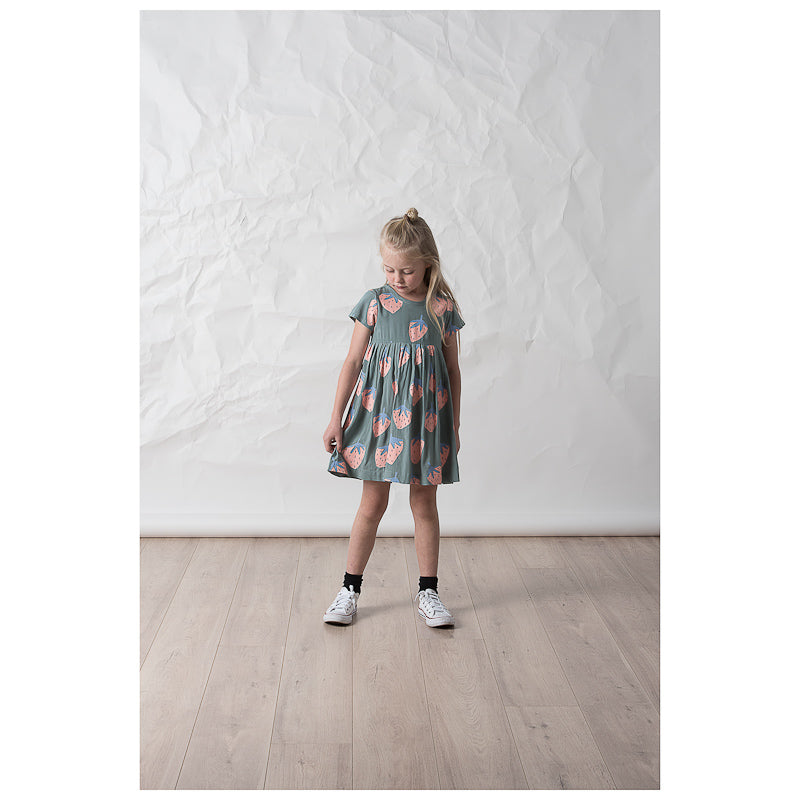 Littlehorn Strawberries Woven Dress - Olive Dresses Littlehorn - Little Styles
