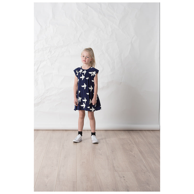 Littlehorn Swallows Woven Dress - Dark Blue Dresses Littlehorn - Little Styles