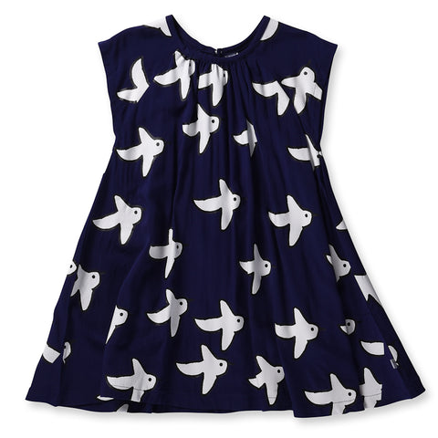 Littlehorn Swallows Woven Dress - Dark Blue