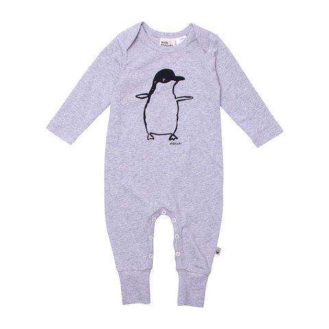 Milk & Masuki Baby Long Sleeve Button All Penguine Placement