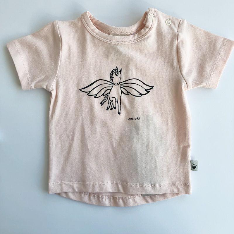 Milk & Masuki Baby Short Sleeve Tee Unicorn Placement Tops Milk & Masuki - Little Styles