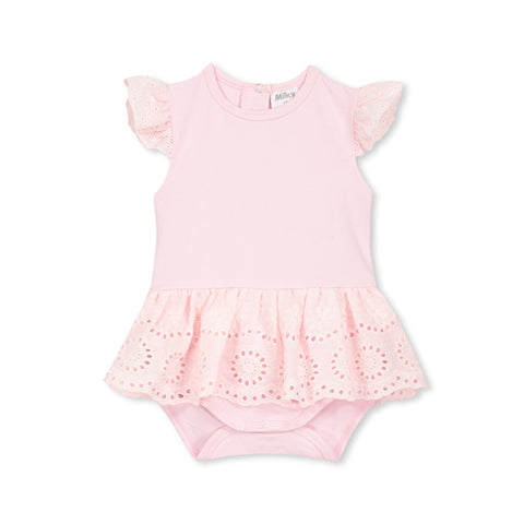 Milky Broderie Bubbysuit - Pastel Pink