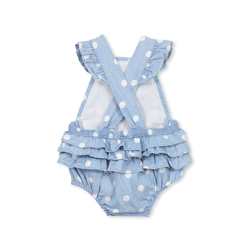 Milky Chambray Spot Playsuit Onesies Milky - Little Styles