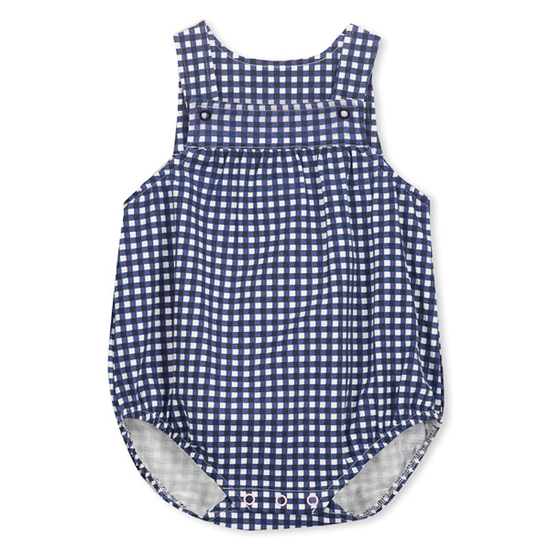 Milky Check Baby Overall - White/Navy Onesies Milky - Little Styles