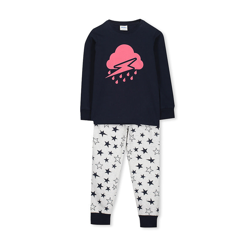 Milky Cloudy Pyjamas - Speckle Marle-Midnight Blue Pyjamas Milky - Little Styles