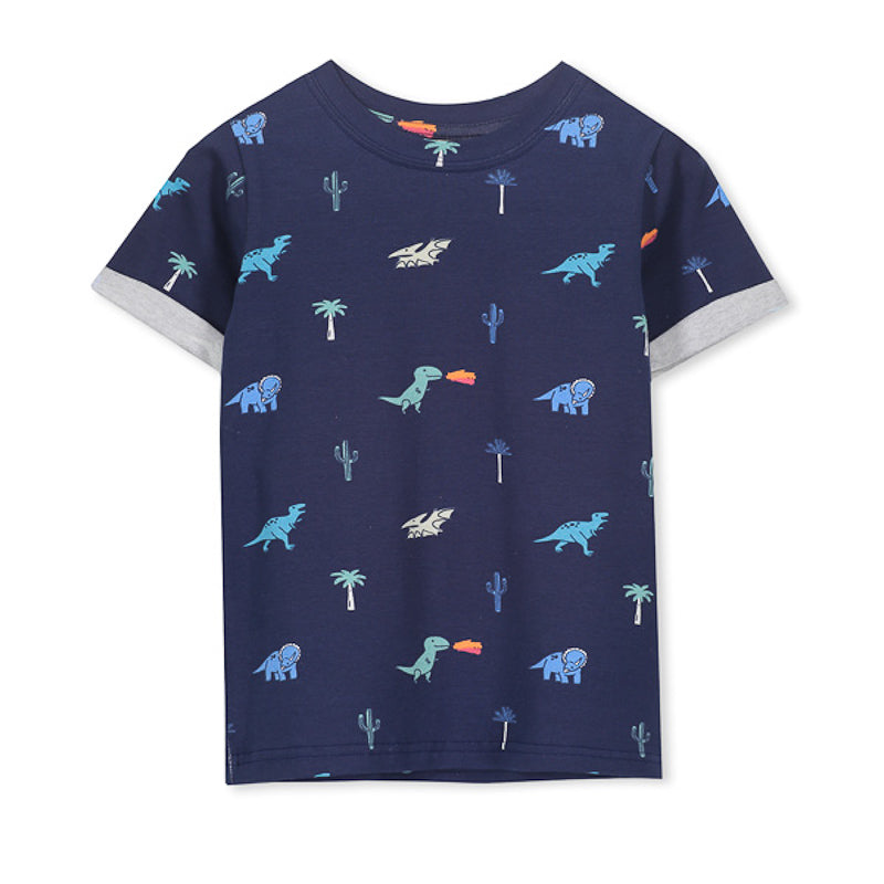 Milky Dino Tee - Steel Blue Tops Milky - Little Styles