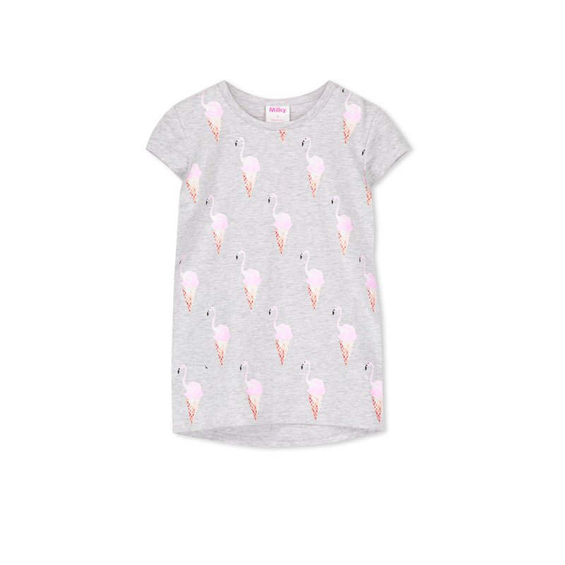 Milky Flamingos Tee - Silver Marle Tops Milky - Little Styles
