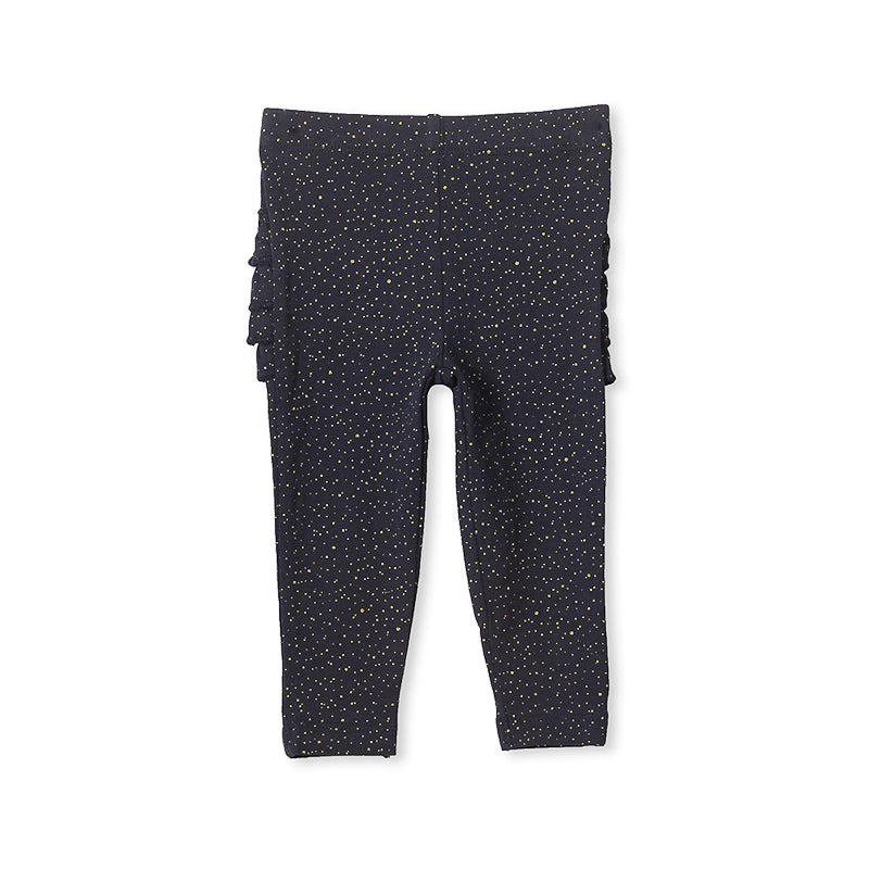 Milky Glitter Frill Legging - French Navy Pants Milky - Little Styles