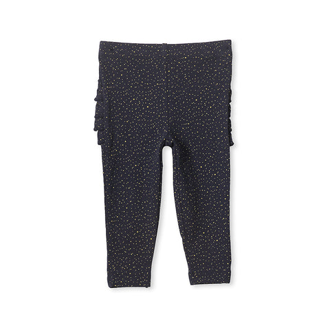 Milky Glitter Frill Legging - French Navy