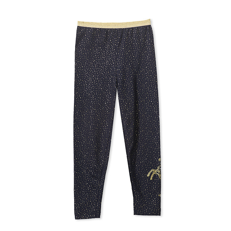Milky Glitter Legging - French Navy Pants Milky - Little Styles