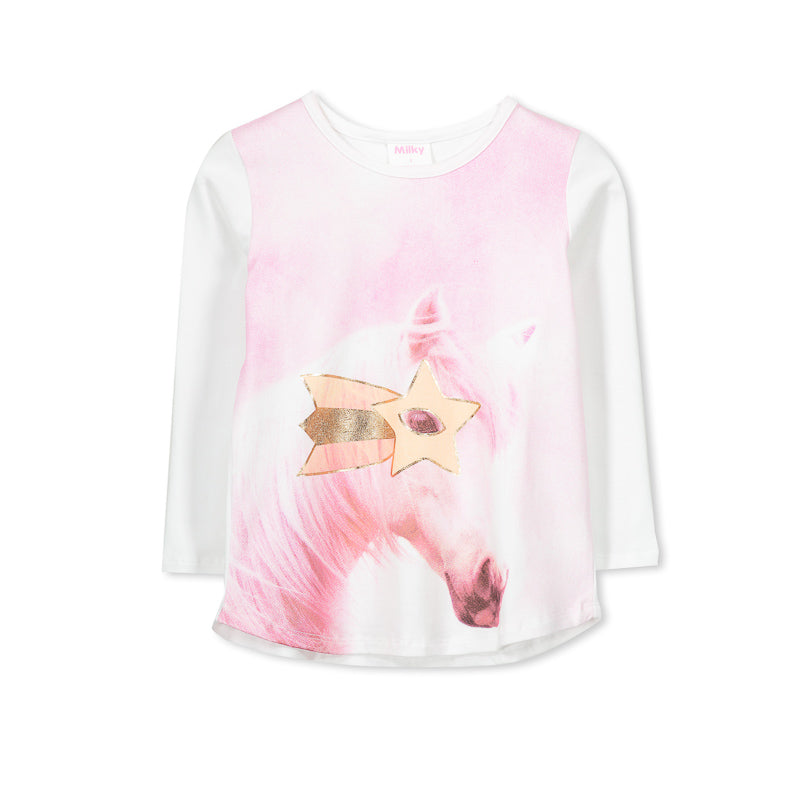 Milky Horse Tee - White/Pink Tops Milky - Little Styles