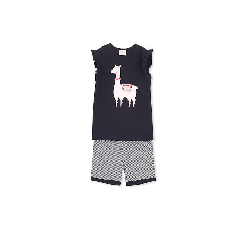 Milky Llama Pyjamas - French Navy/Super Pink Pyjamas Milky - Little Styles