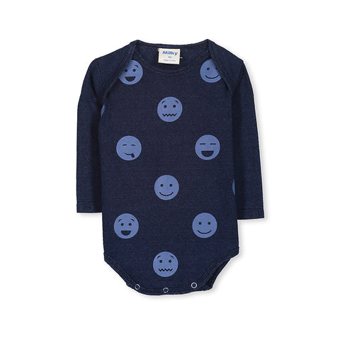 Milky Polka Dot Bubbysuit - Denim